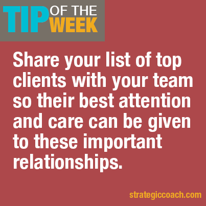 Tip-Of-The-Week: Share your list of top clients with your team so their best attention and care can be given to these important relationships.