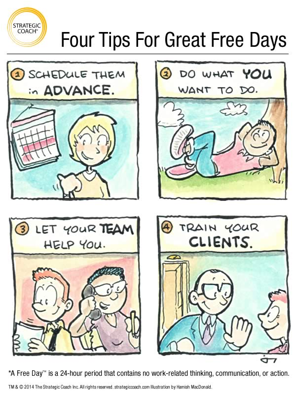 Four Tips For Great Free Days. Illustrated  by Hamish MacDonald. © 2014. The Strategic Coach Inc. All rights reserved.