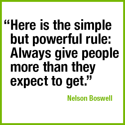 """Here is the simple but powerful rule: Always give people more than they expect to get."" —Nelson Boswell"