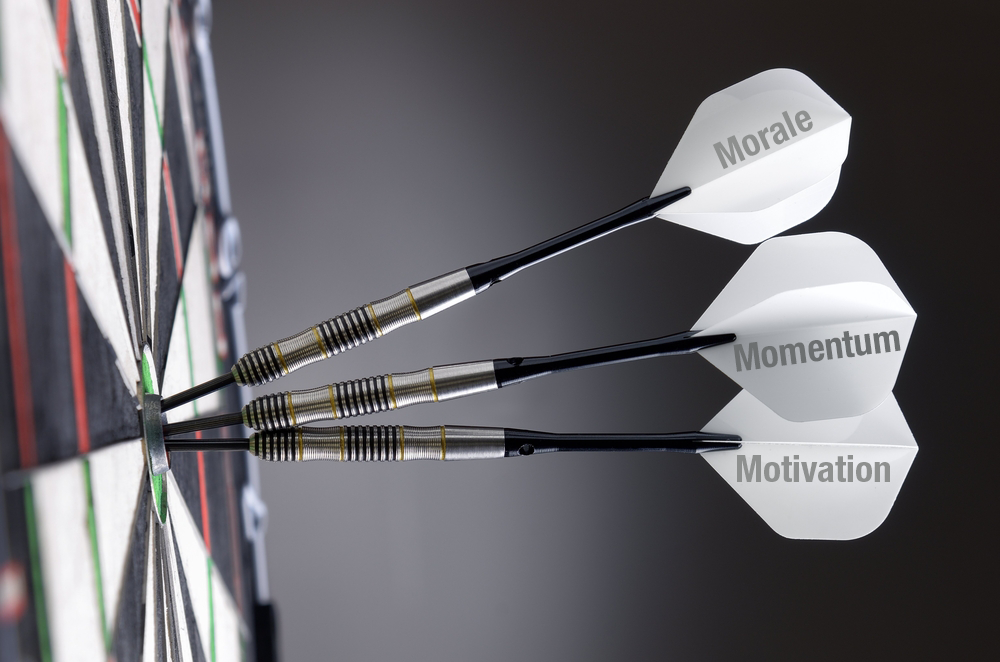 Morale, Momentum, Motivation darts.