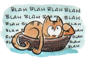 "Cat failing to understand words and therefore can't ""think."" Illustration by Hamish MacDonald."