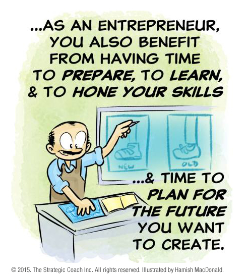 … as an entrepreneur, you also benefit from having time to prepare, to learn, & to hone your skills… & time to plan for the future you want to create.