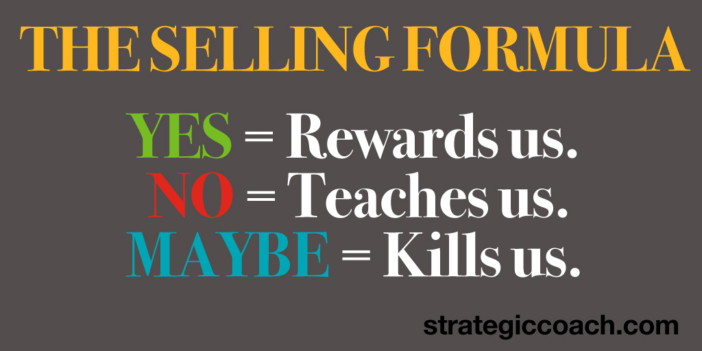 The Selling Formula: Yes = Rewards us. No = Teaches us. Maybe = Kills us.